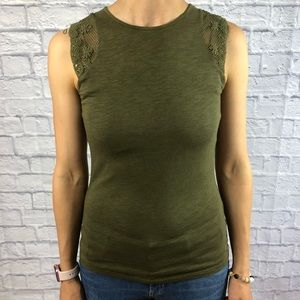 Ralph Lauren Olive Green Tank Crochet Sleeves